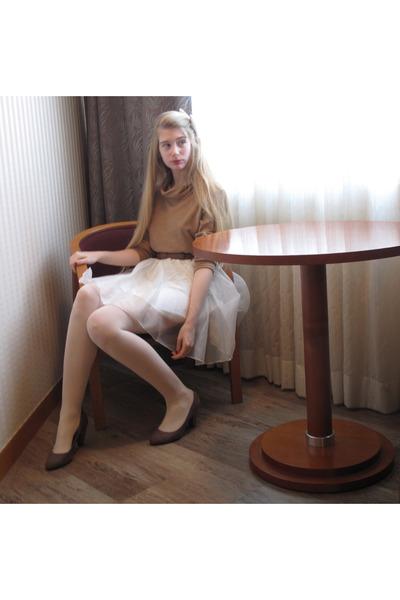 camel American Apparel sweater - white ssfw skirt - brown American Apparel belt