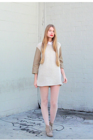 beige Zara dress - white American Apparel shirt
