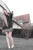 charcoal gray American Apparel sweater - light pink American Apparel tights - si