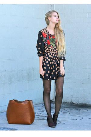 black thrifted vintage dress