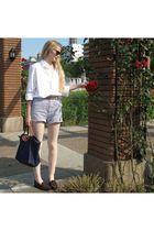 white American Apparel shirt - gray American Apparel shorts - brown Miu Miu sung