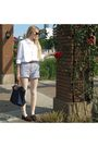 White-american-apparel-shirt-gray-american-apparel-shorts-brown-miu-miu-sung