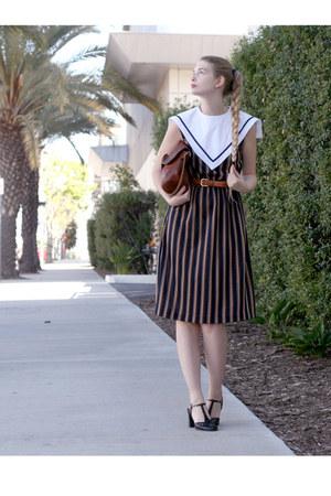 navy vintage dress - dark brown APC bag - burnt orange American Apparel belt