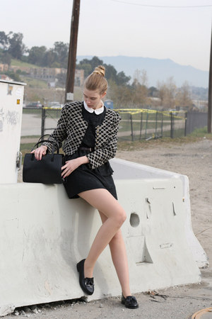black vintage dress - white American Apparel shirt - black Haruta loafers