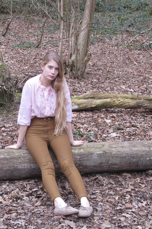 beige American Apparel shoes - dark khaki American Apparel pants - light pink vi