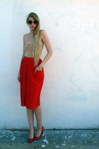 red vintage skirt - red Marc by Marc Jacobs heels