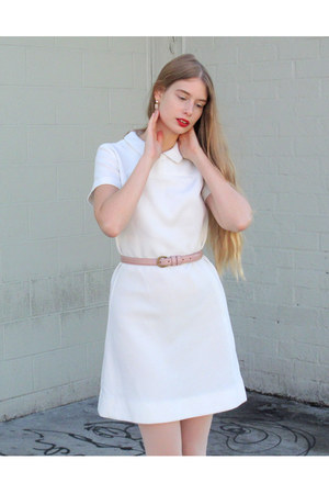 white vintage dress - pink American Apparel belt