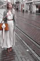 brown Cecil boots - off white American Apparel dress - heather gray American App