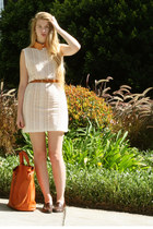 eggshell American Apparel dress - burnt orange American Apparel shirt