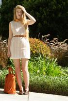 eggshell American Apparel dress - burnt orange American Apparel shirt
