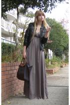 black vintage jacket - gray H&M dress