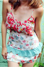 Red-floral-chiffon-mychickpea-top-light-blue-layered-mychickpea-skirt