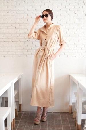 beige elegant coat myChickPea dress