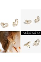 Gold Pearl Heart MyChickPea Earrings