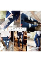 Blue Stylish Ripped MyChickPea Jeans