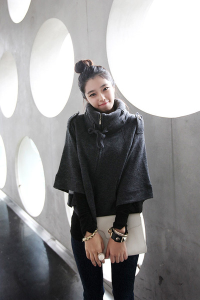 dark gray casual chic Dahong cape