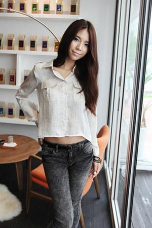 dark gray vingtage skinny Dahong jeans