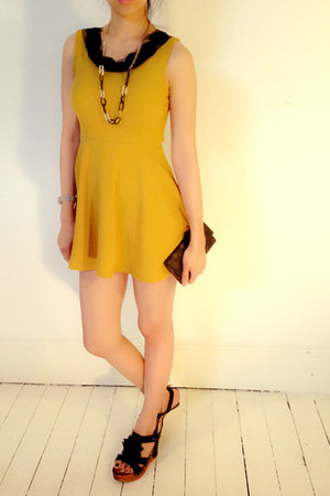 mustard mini dress myChickPea dress - black hoop myChickPea necklace
