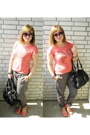 bubble gum unknown brand flats - black david jones bag - silver Incity pants