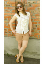cream blouse - beige shorts - beige heels - crimson glasses