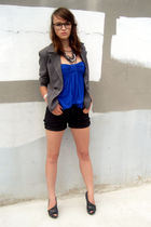 black glasses - black Carlos Santana shoes - blue Forever 21 dress - gray blazer