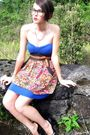 Blue-forever-21-dress-red-sensational-collections-skirt-brown-vintage-belt-