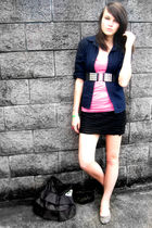 blue blazer - pink American Eagle top - black belt - black skirt - beige America