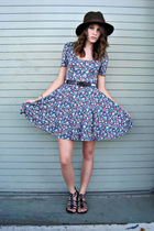 brown shoes - blue Sounds And Matter dress - brown hat - white belt