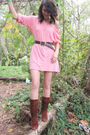 Pink-inc-shirt-brown-faded-glory-belt-silver-made-it-myself-necklace-brown