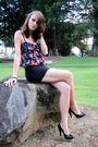 Black-american-rag-dress-black-skirt-black-nine-west-shoes