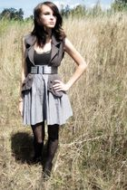 gray vest - black Nine West shoes - black lace Target tights - gray skirt