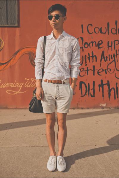 white sheer H&M shirt - white Zara shoes