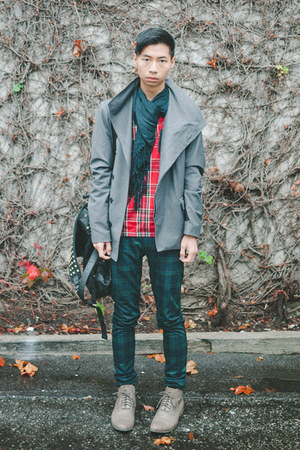 red plaid Zara shirt - olive green jimmy ankle Swear boots