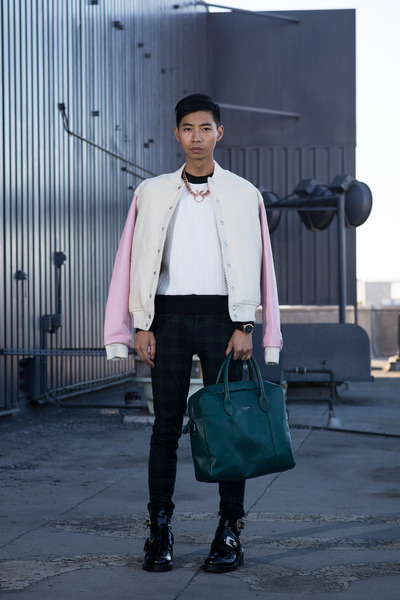 pink American Apparel jacket - black balenciaga boots - teal ted baker bag
