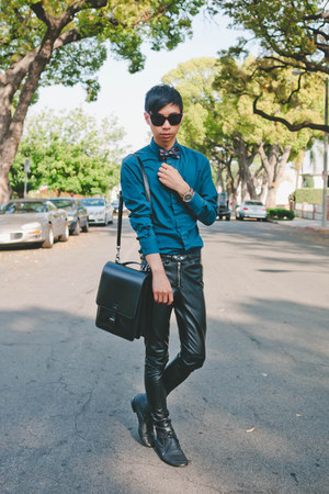 black faux leather H&M pants - teal matthew williamson x h&m shirt