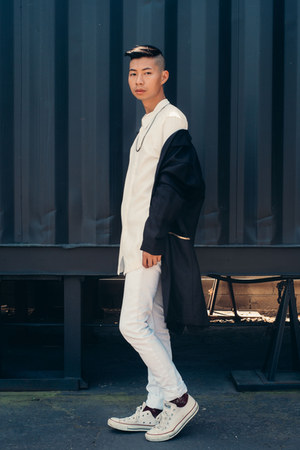 white white acne jeans - navy chapter coat - white chapter shirt