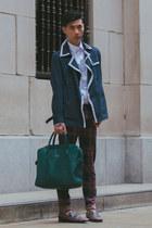 navy trench coat Topman coat - dark brown studded Prada shoes