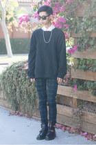black balenciaga boots - black acne sweater - teal ted baker bag
