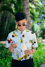 White-printed-altru-apparel-shirt-gold-round-le-specs-sunglasses