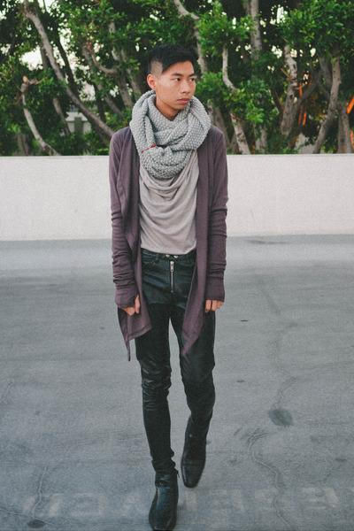 black Giorgio Brutini boots - black faux leather H&M pants