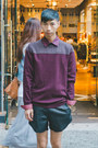 Maroon-ted-baker-sweater-black-eliran-nargassi-shorts