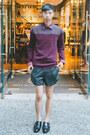 Maroon-ted-baker-sweater-black-eliran-nargassi-shorts