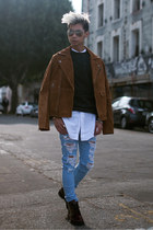 brown suede asos jacket - dark brown leather asos boots