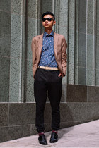 blue Eton shirt - black suede Alexander Wang shoes - tan blazer Yesstyle blazer