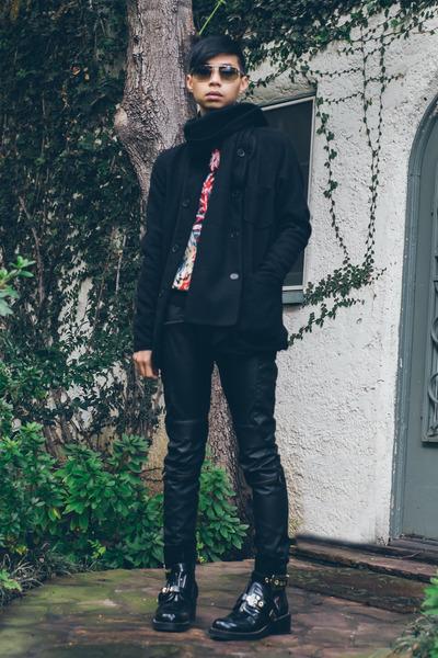 black buckle cutout balenciaga boots - red palm tree asos sweater