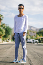 sky blue Tretorn shoes - white sweatshirt Scrapes and Gravel shirt