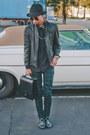 Black-topman-hat-black-vintage-jacket-black-trussardi-bag