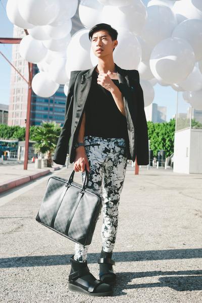 white floral Zara pants - black mesh 31 Phillip Lim boots - black Balmain blazer