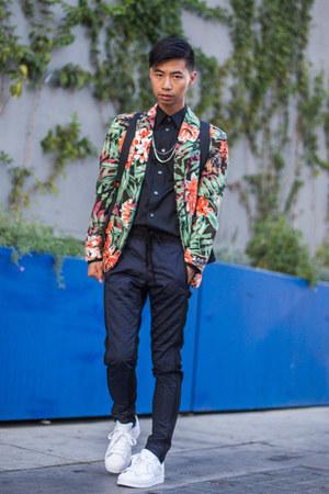 green floral print Zara blazer - navy trousers Zara pants