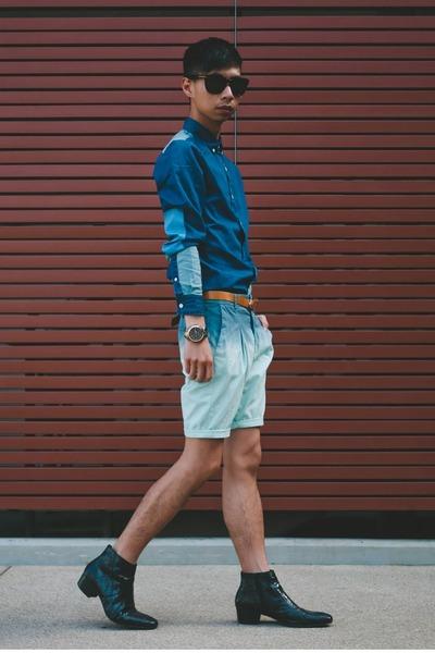 blue patchwork denim asos shirt
